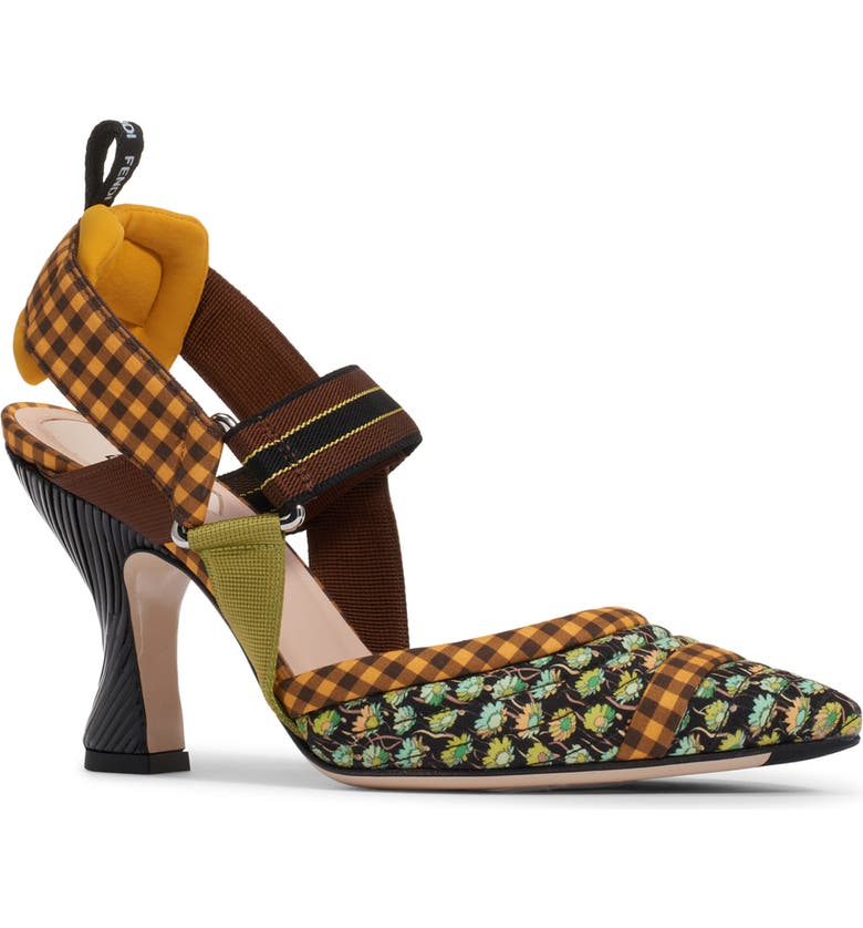FENDI Colibri Pointed Toe Slingback Pump, Main, color, GREEN FLORAL/ YELLOW GINGHAM
