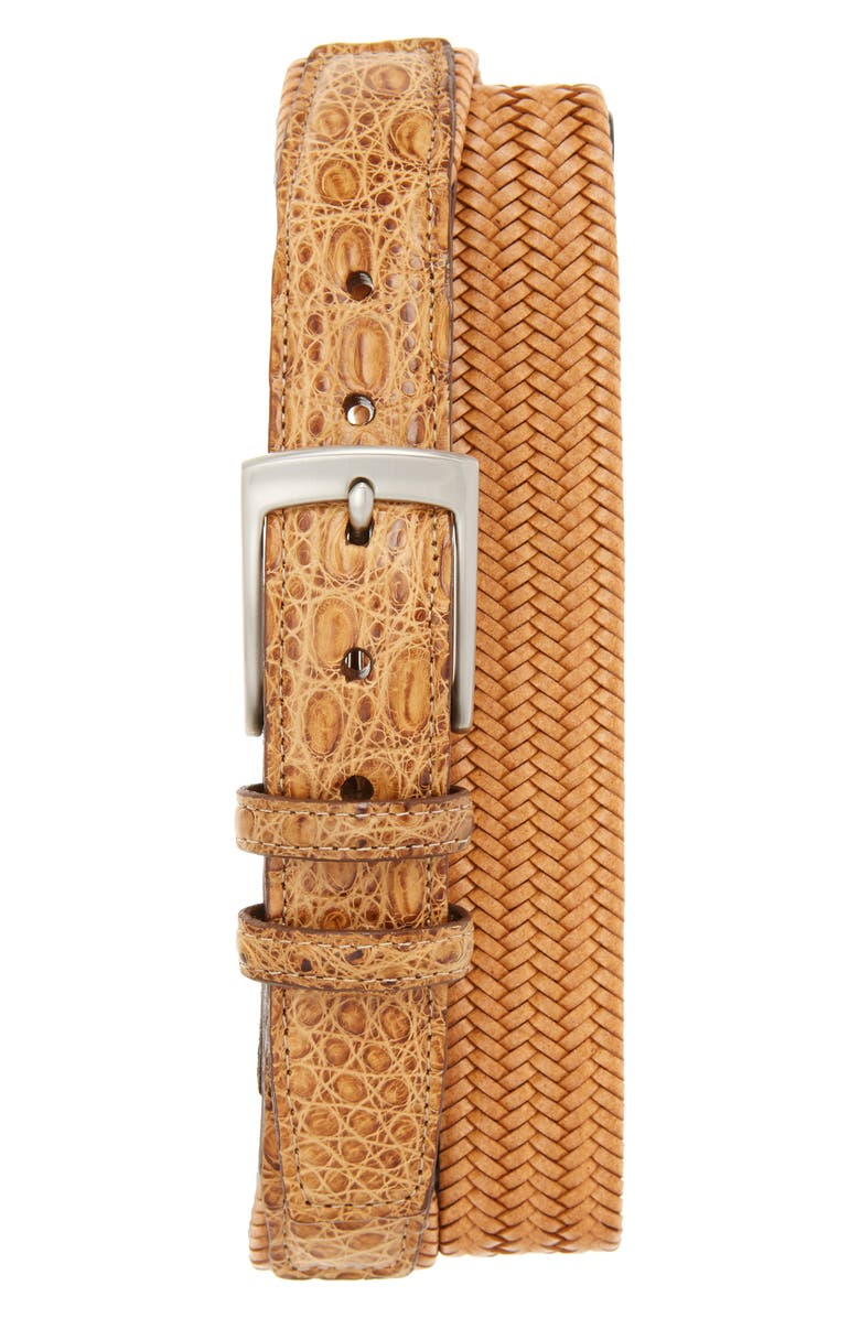 TORINO Stretch Woven Leather Belt, Main, color, SADDLE