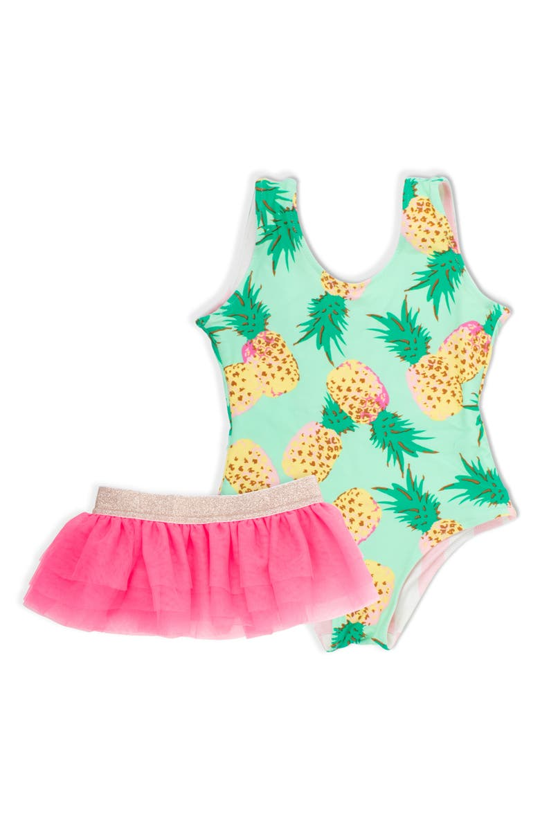 SHADE CRITTERS Tropical Vibes Reversible One-Piece Swimsuit & Tulle Skirt Set, Main, color, 300