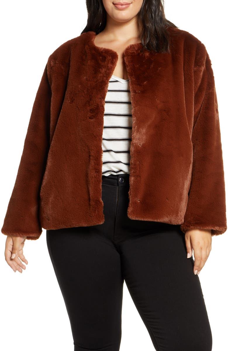 SANCTUARY Starry Night Faux Fur Jacket, Main, color, RUST