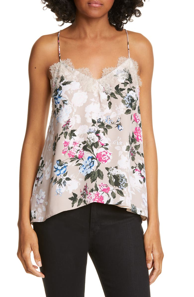 CAMI NYC The Racer Floral Silk Camisole, Main, color, CARNATION FLOWER