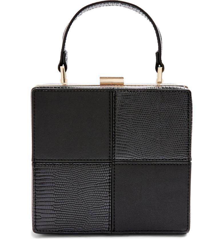 TOPSHOP Gia Boxy Faux Leather Bag, Main, color, BLACK