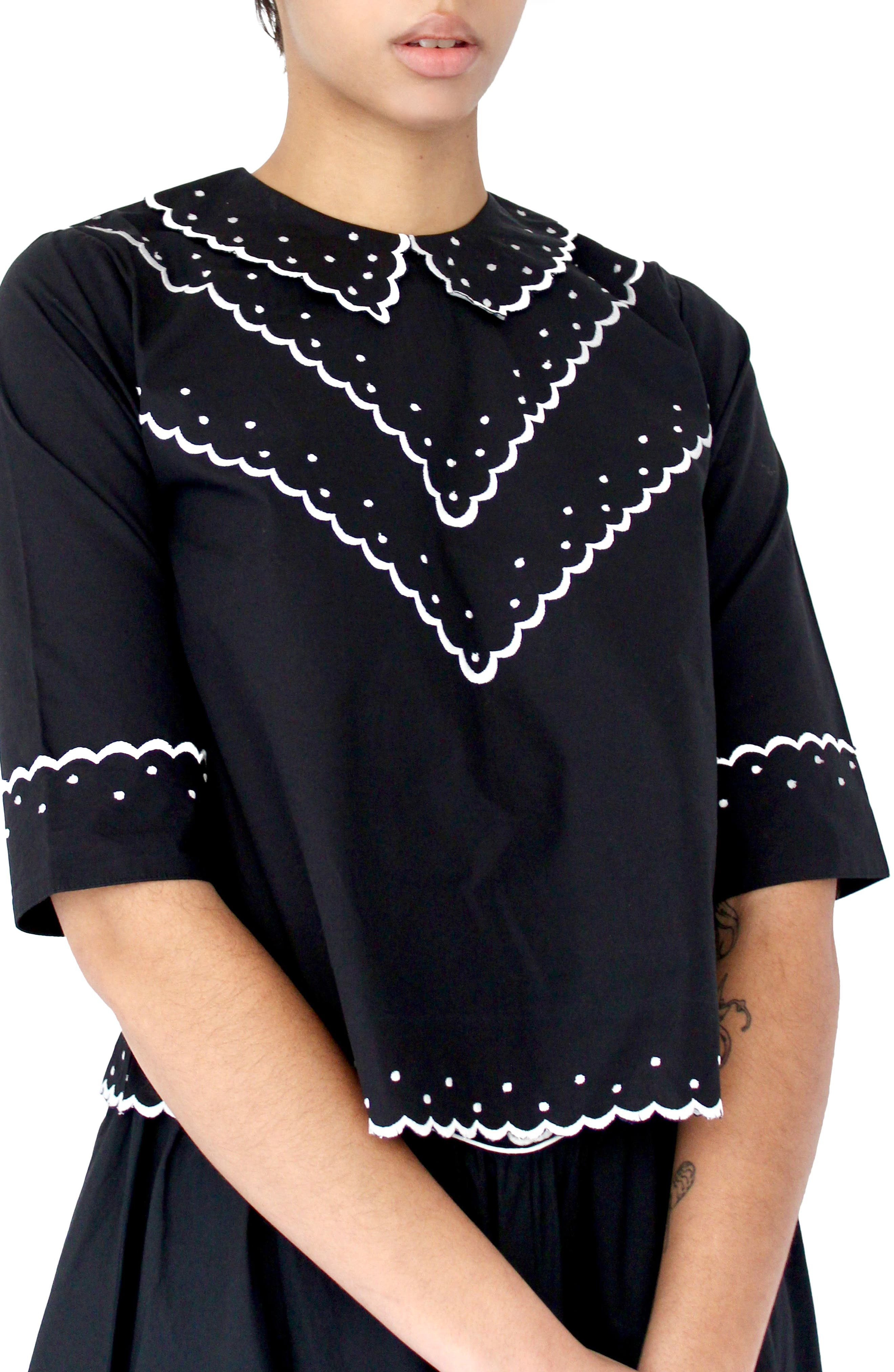 Shirley Contrast Embroidered Poplin Top