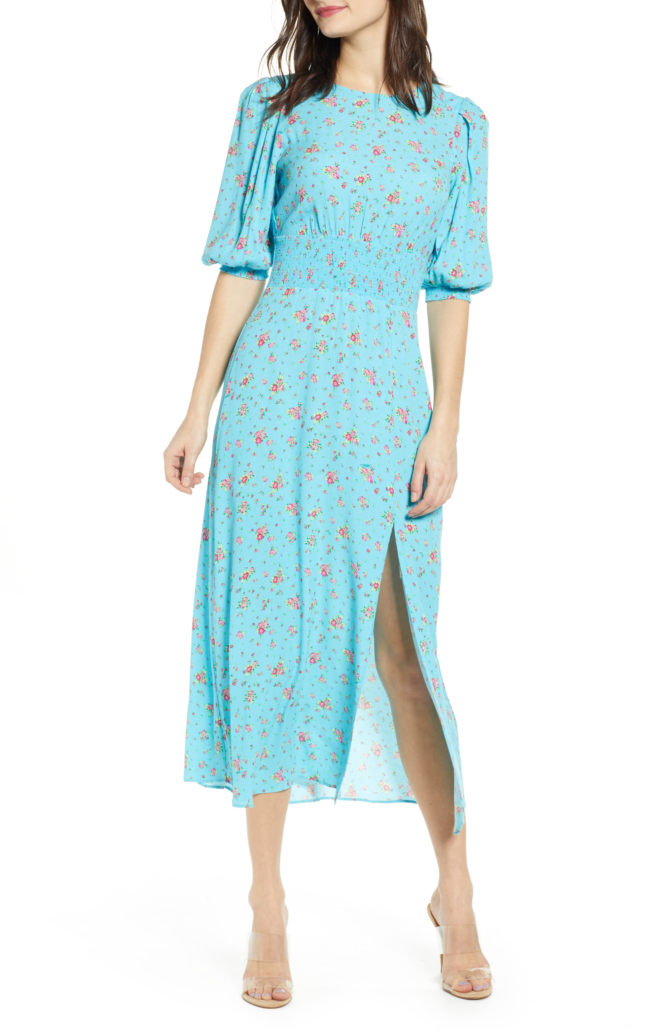 Afrm Print Smocked Waist Midi Dress, Blue