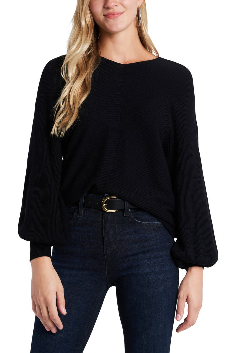 1.STATE Ribbed Balloon Sleeve Cotton Blend Sweater, Main, color, RICH BLACK