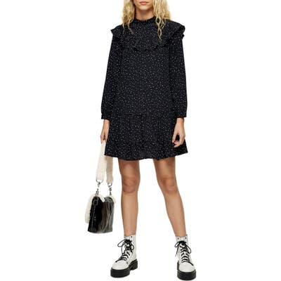 Topshop Ruffle Yoke Long Sleeve Minidress, US (fits like 0) - Black