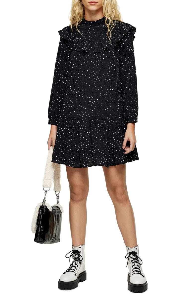 TOPSHOP Ruffle Yoke Long Sleeve Minidress, Main, color, BLACK MULTI