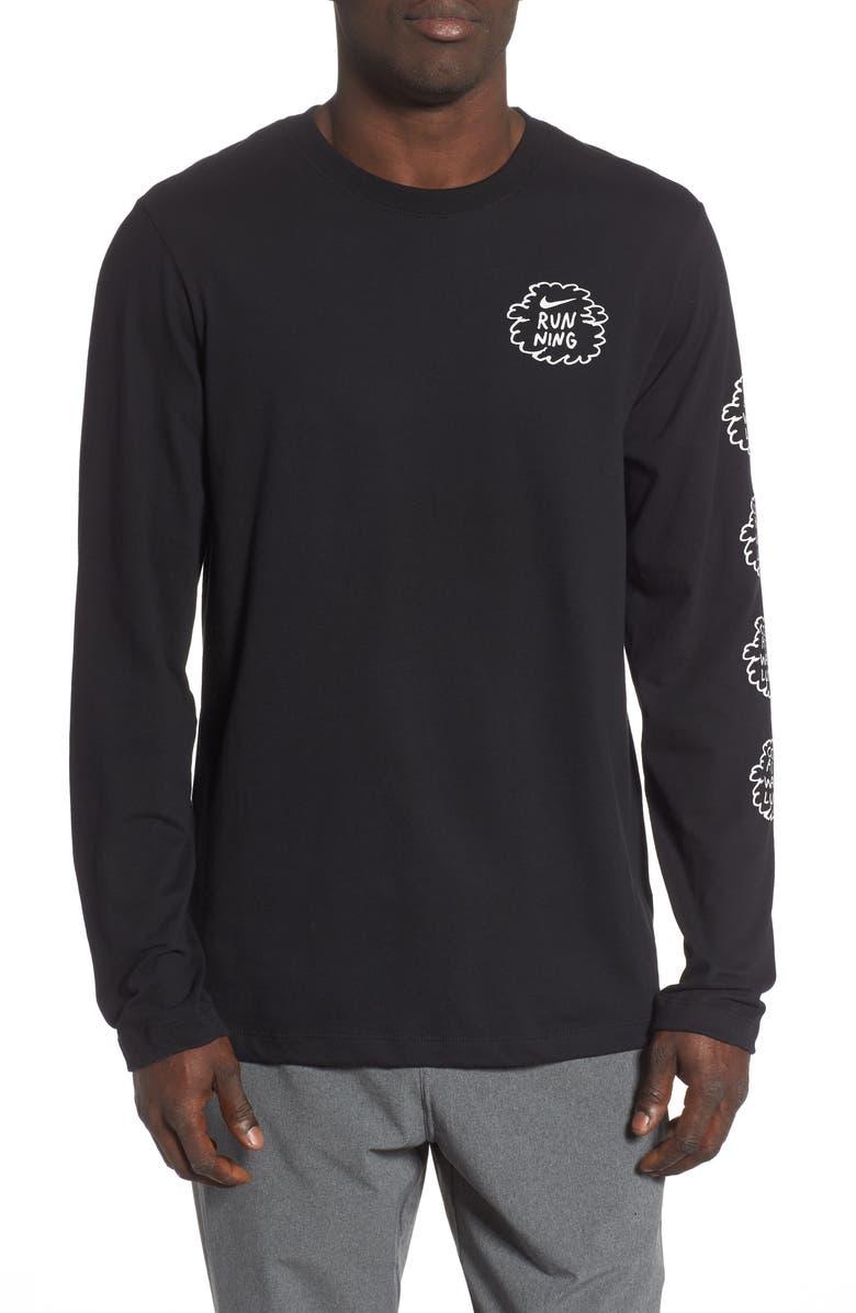 NIKE Dry Long Sleeve Running T-Shirt, Main, color, BLACK