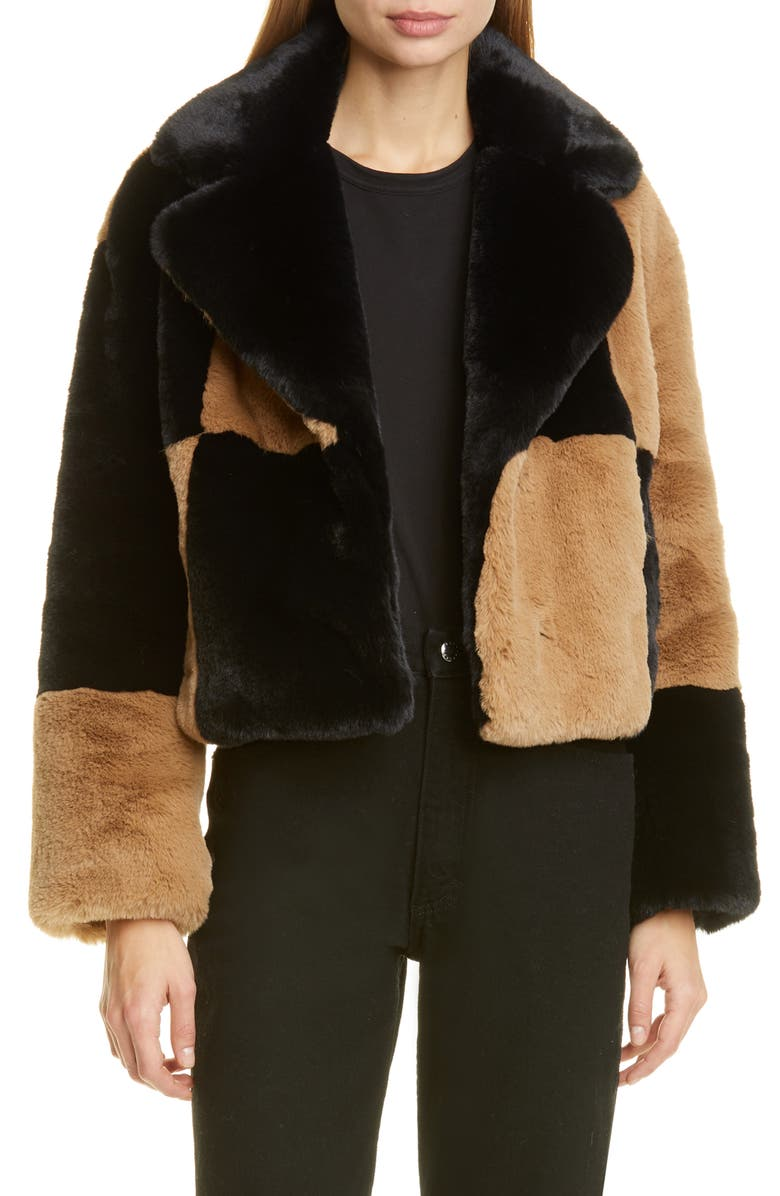 STAND STUDIO Janet Patchwork Faux Fur Crop Jacket, Main, color, BLACK/CAMEL