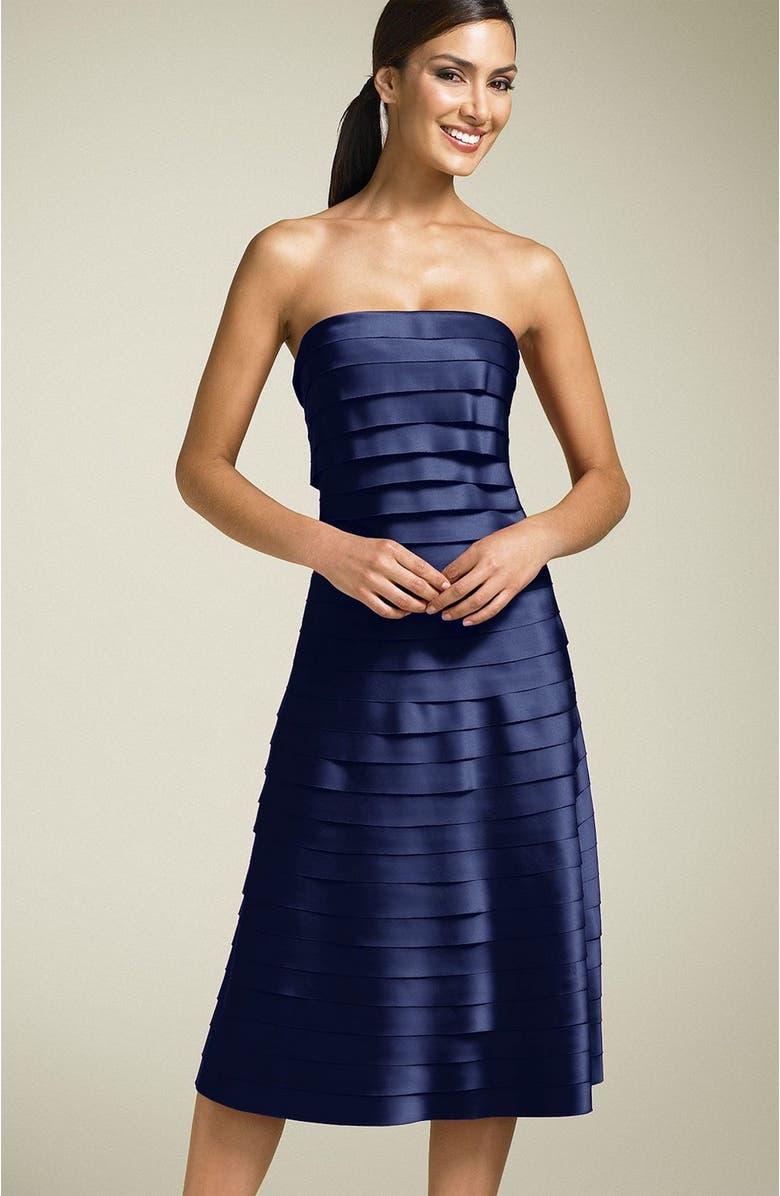 ELIZA J Strapless Satin Party Dress, Main, color, 410