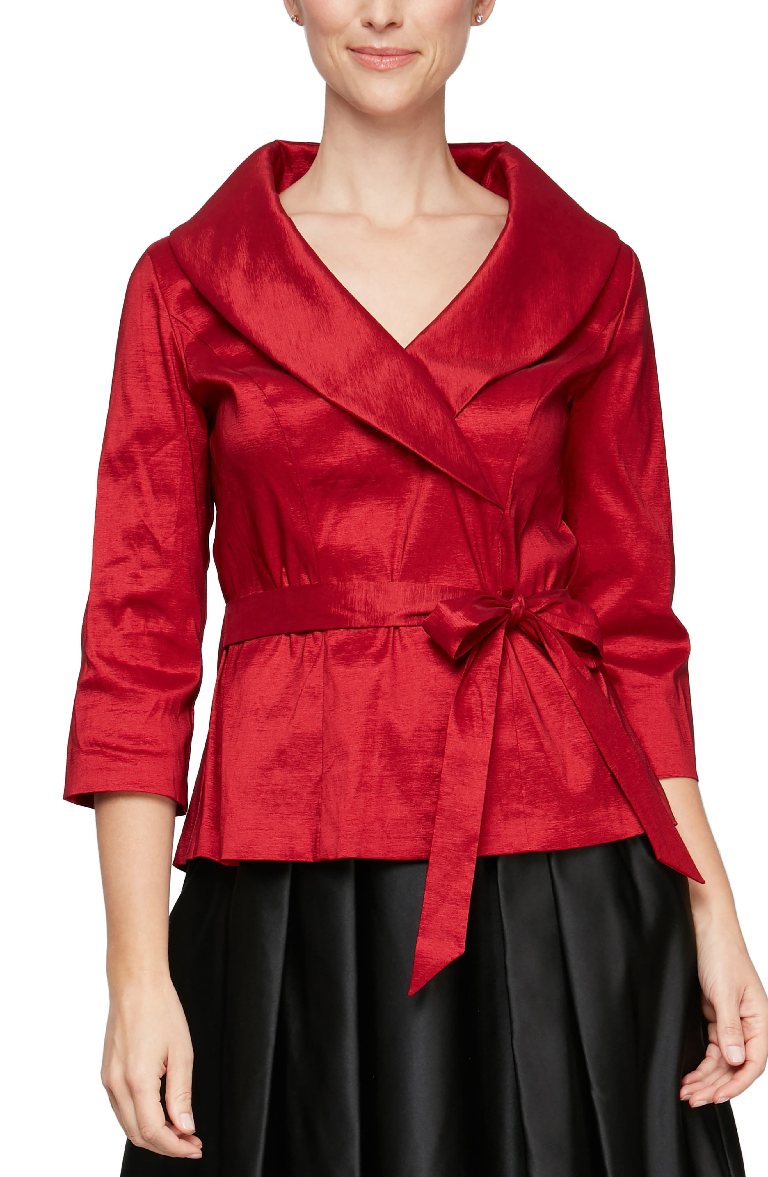 1940s Blouses, Tops, Shirts, Knitwear Womens Alex Evenings Brushed Satin Tie Waist Blouse Size Large - Red $119.00 AT vintagedancer.com