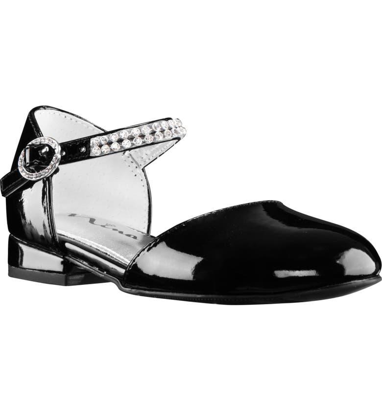 NINA Cera Crystal Embellished d'Orsay Sandal, Main, color, BLACK PATENT