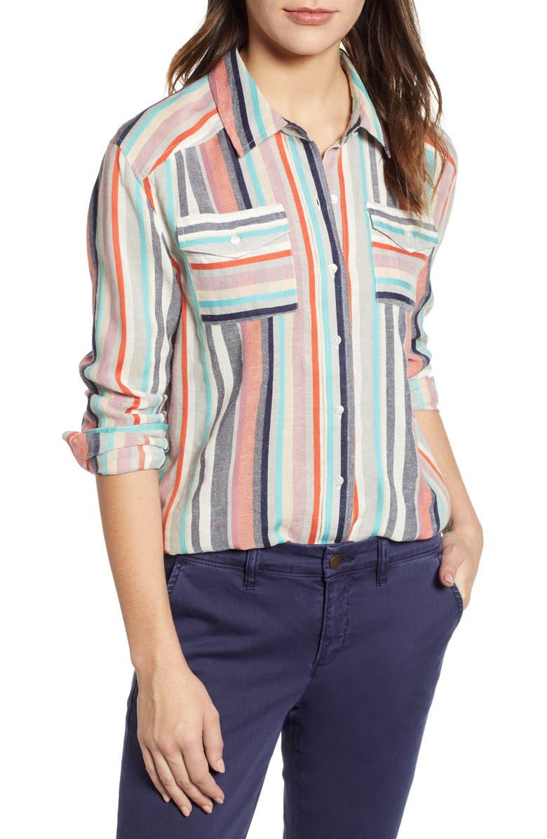 CASLON<SUP>®</SUP> Stripe Shirt, Main, color, BEIGE ANNABELLE MULTI STRIPE