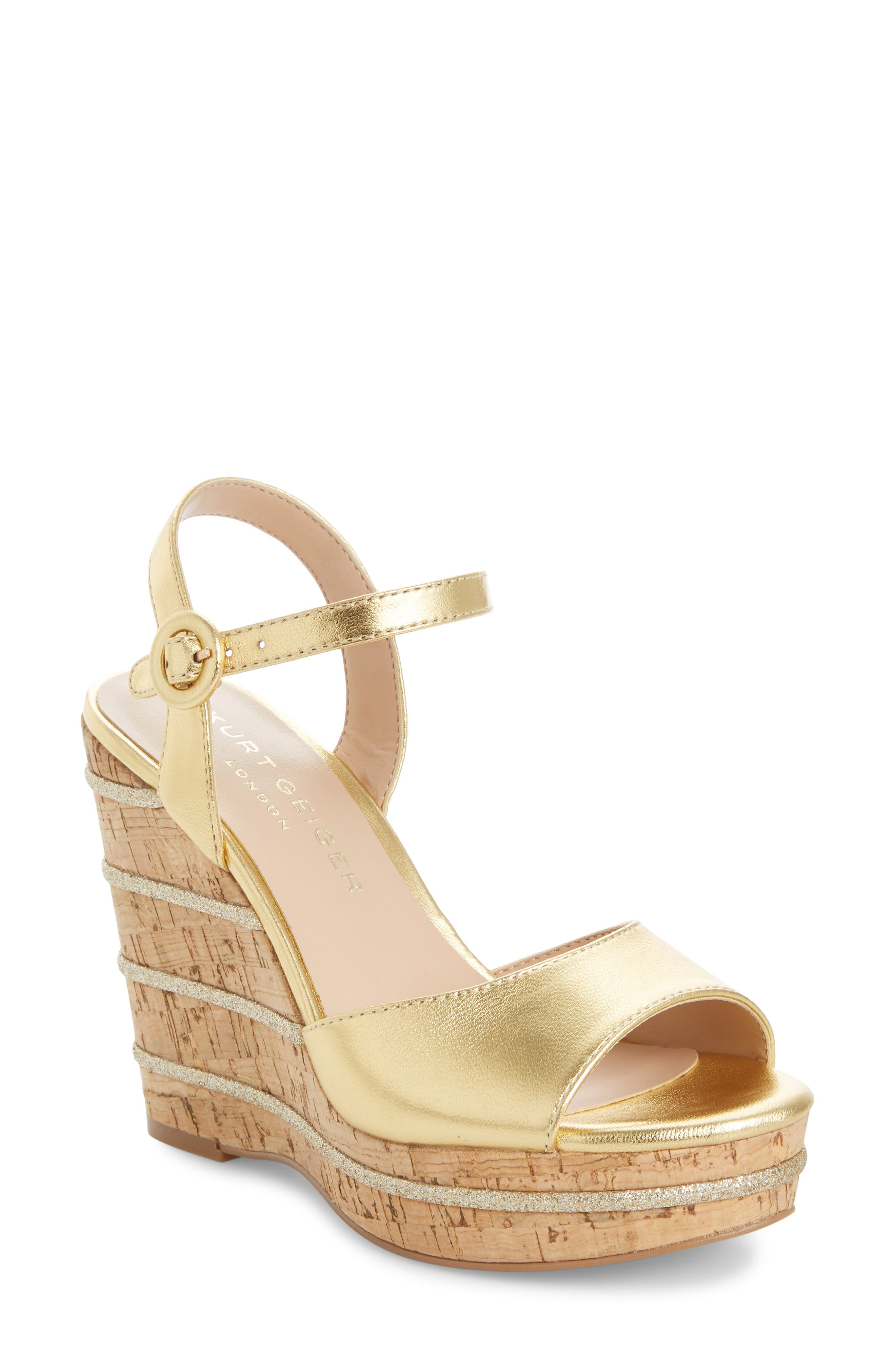 e28a2adcf Kurt Geiger London Ally Wedge Platform Sandal, Metallic