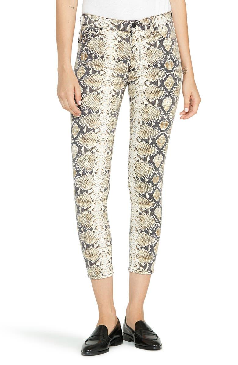 HUDSON JEANS Barbara High Waist Super Skinny Jeans, Main, color, TAN PYTHON