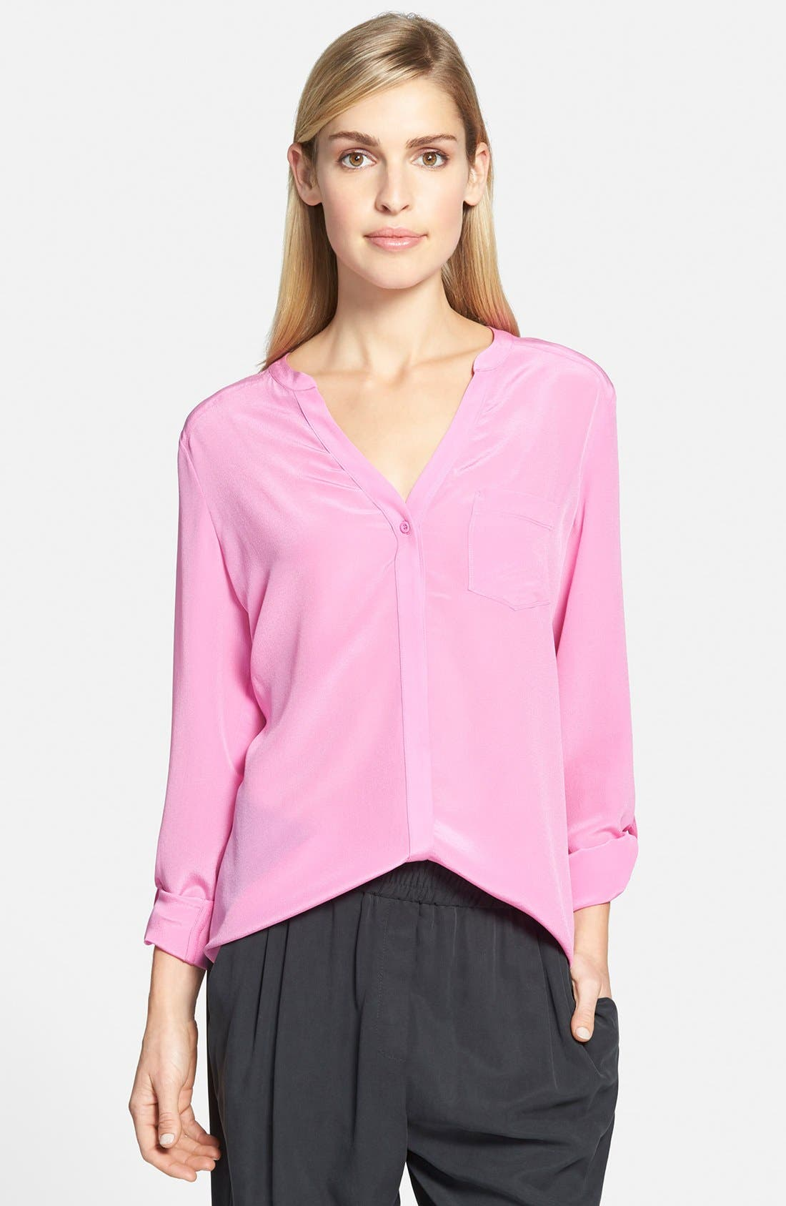 ,                             Collarless Silk Blouse,                             Main thumbnail 76, color,                             670