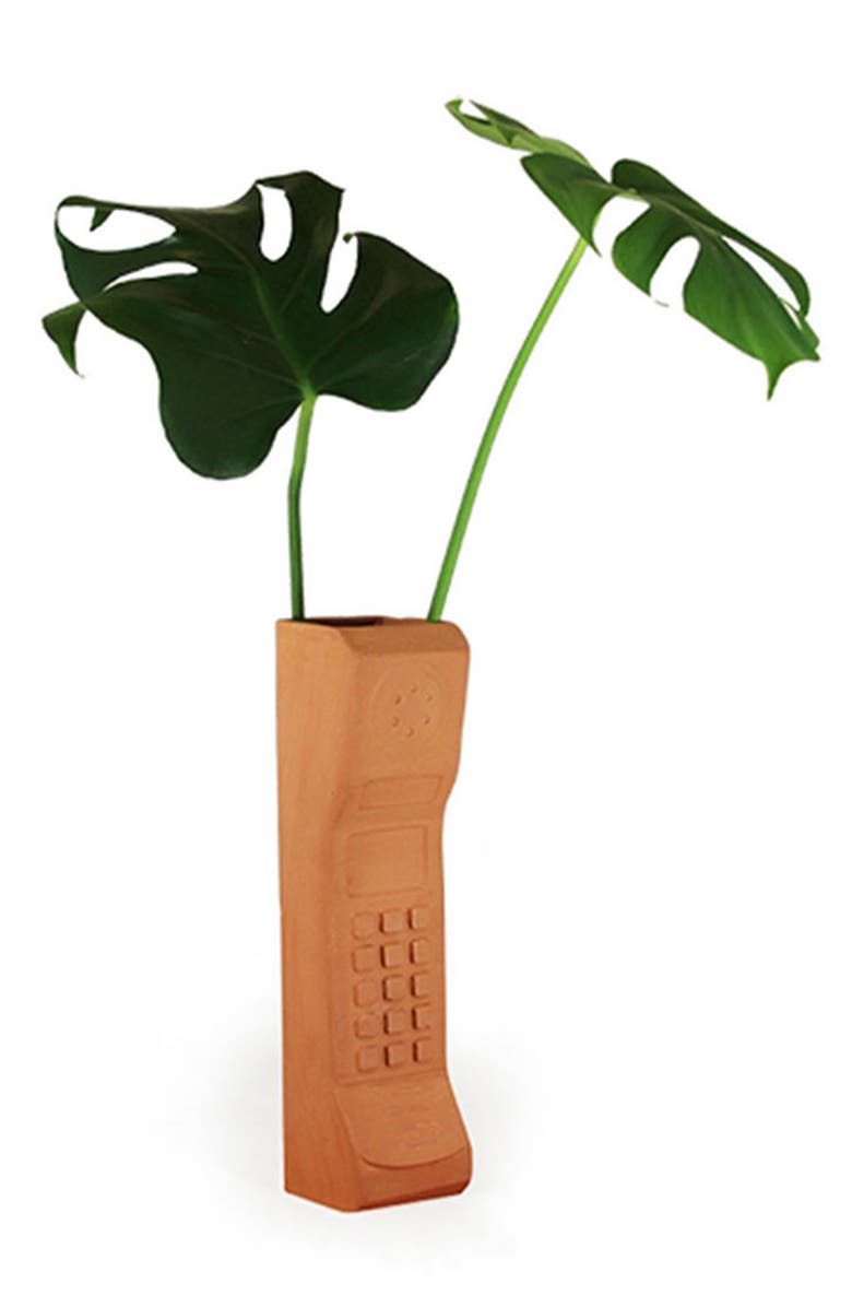 WYATT LITTLE Brick Phone Ceramic Pot, Main, color, TERRACOTTA