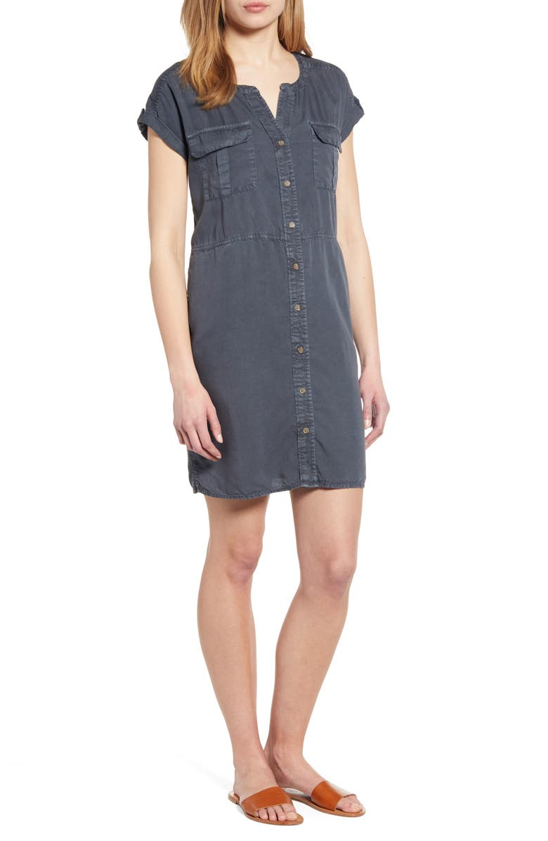 CASLON<SUP>®</SUP> Utility Dress, Main, color, GREY EBONY