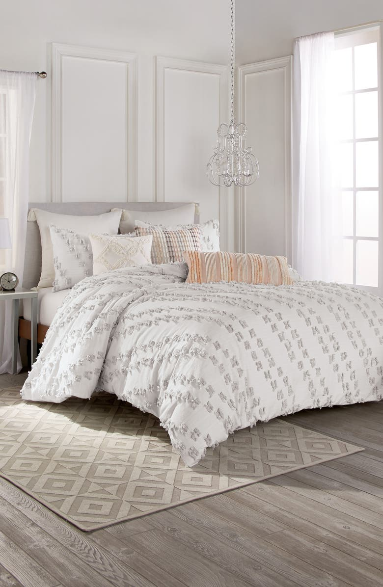 PERI HOME Space Dye Fringe Comforter & Sham Set, Main, color, GREY