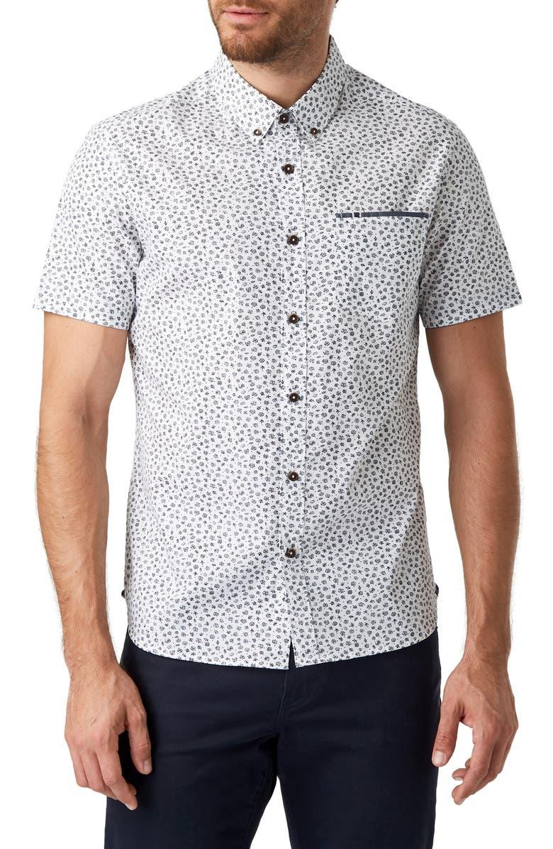 7 DIAMONDS Moon Stomp Slim Fit Shirt, Main, color, 100