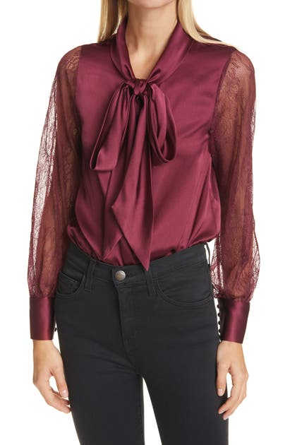 Cami Nyc CAMBERLYN LACE SLEEVE TIE NECK SILK BLOUSE