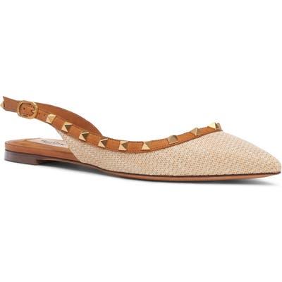 Valentino Garavani Rockstud Woven Pointed Toe Slingback Flat - Beige
