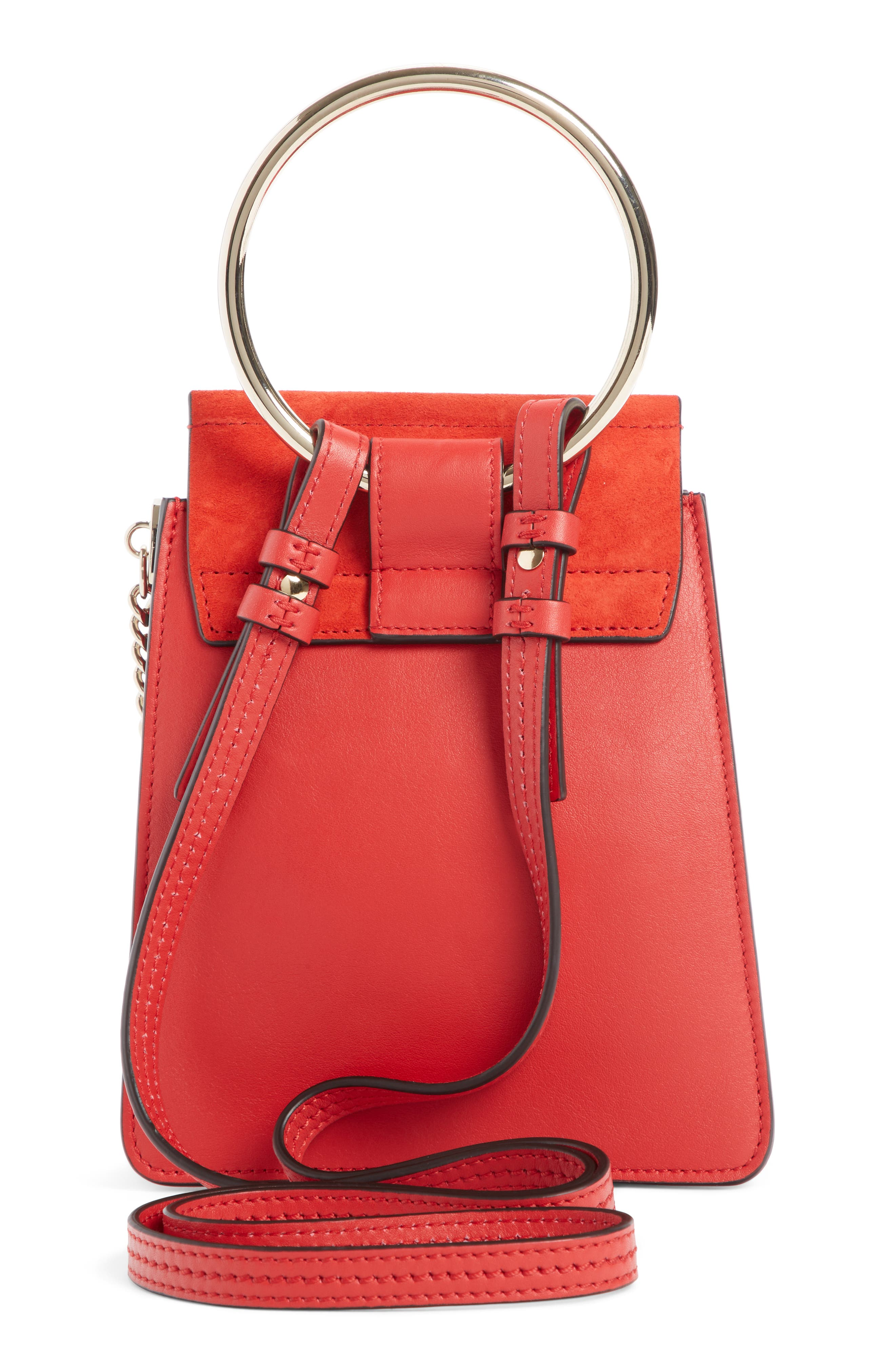 ,                             Faye Small Suede & Leather Bracelet Bag,                             Alternate thumbnail 2, color,                             PLAID RED