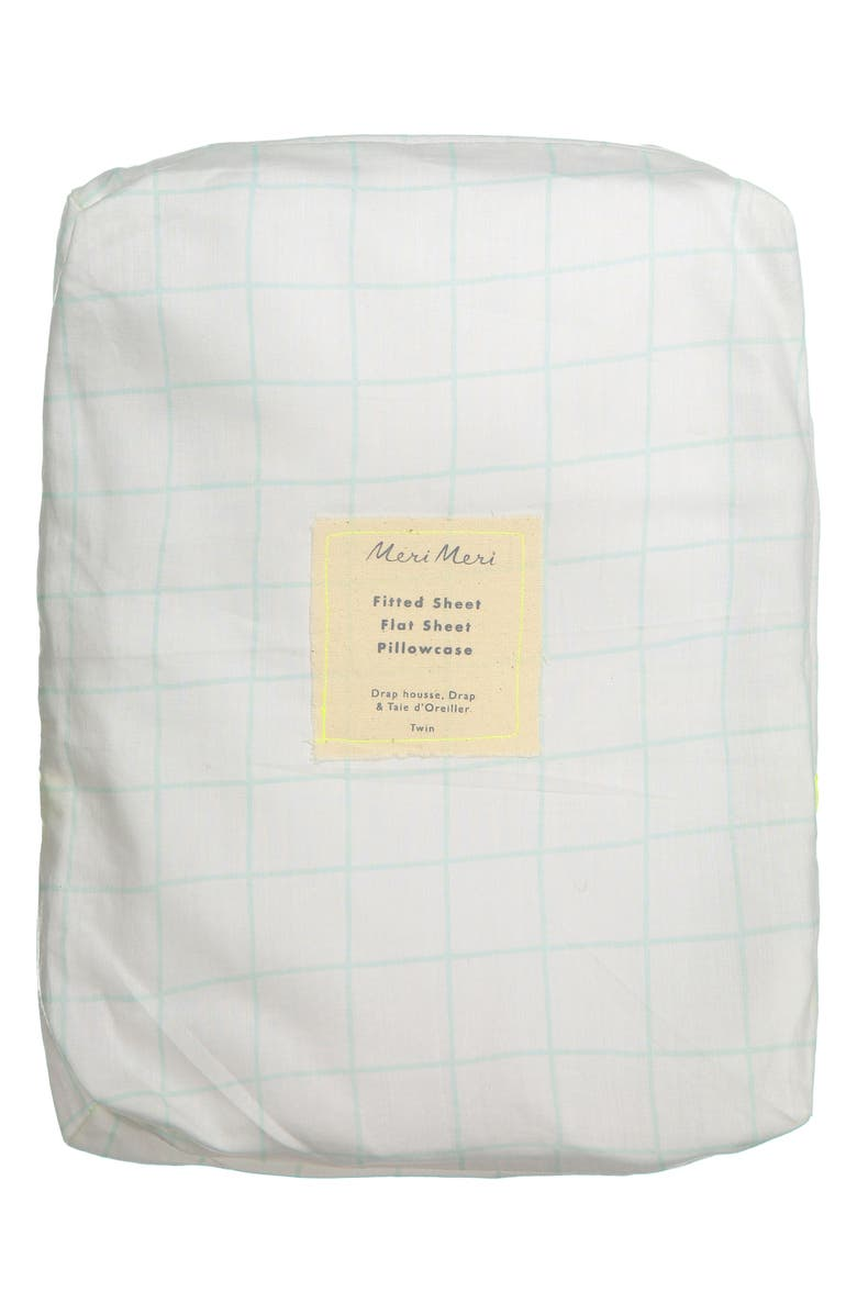MERI MERI Twin Sheet & Pillowcase Set, Main, color, MINT