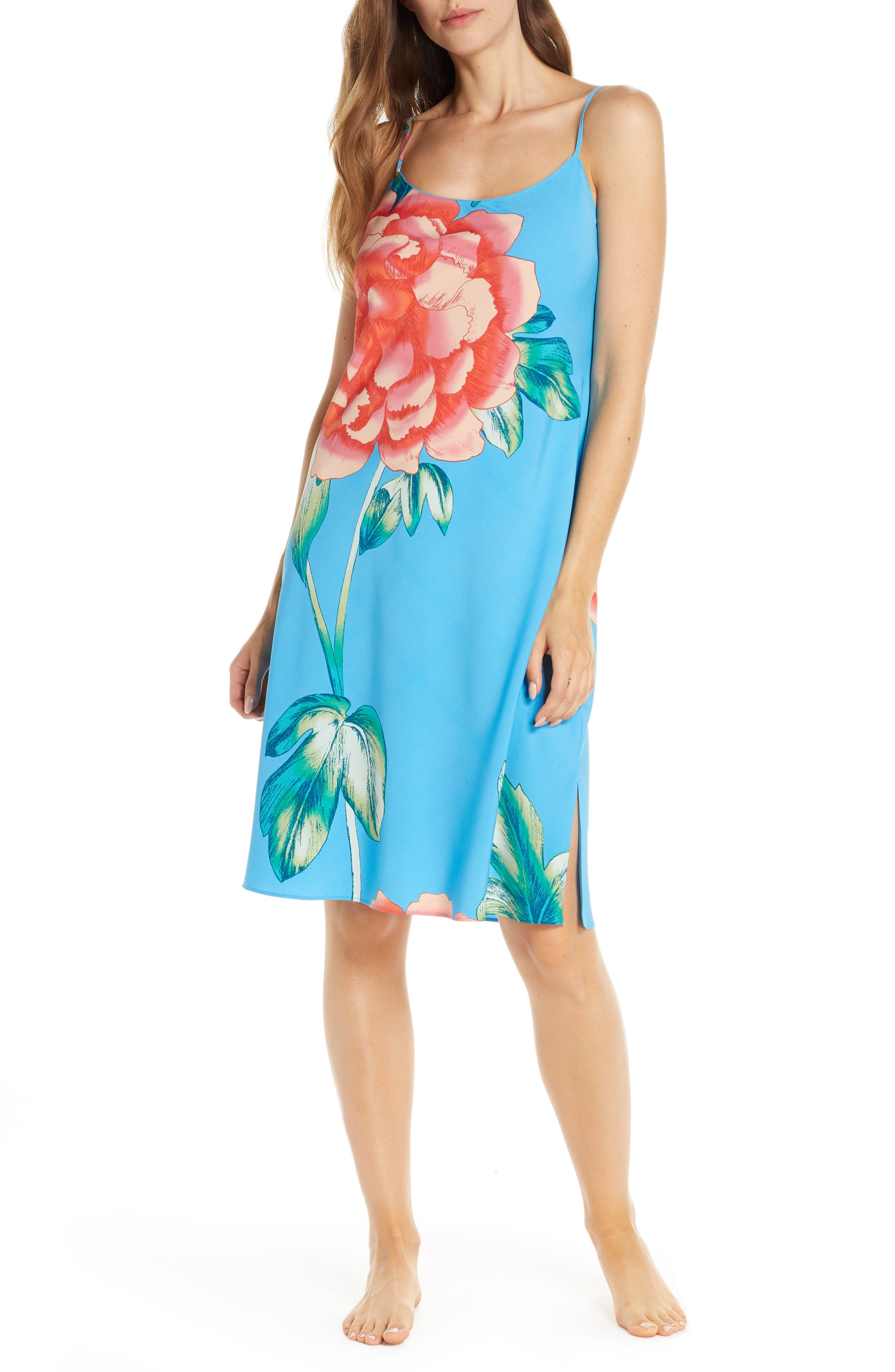 Natori Nova Satin Nightgown, Blue