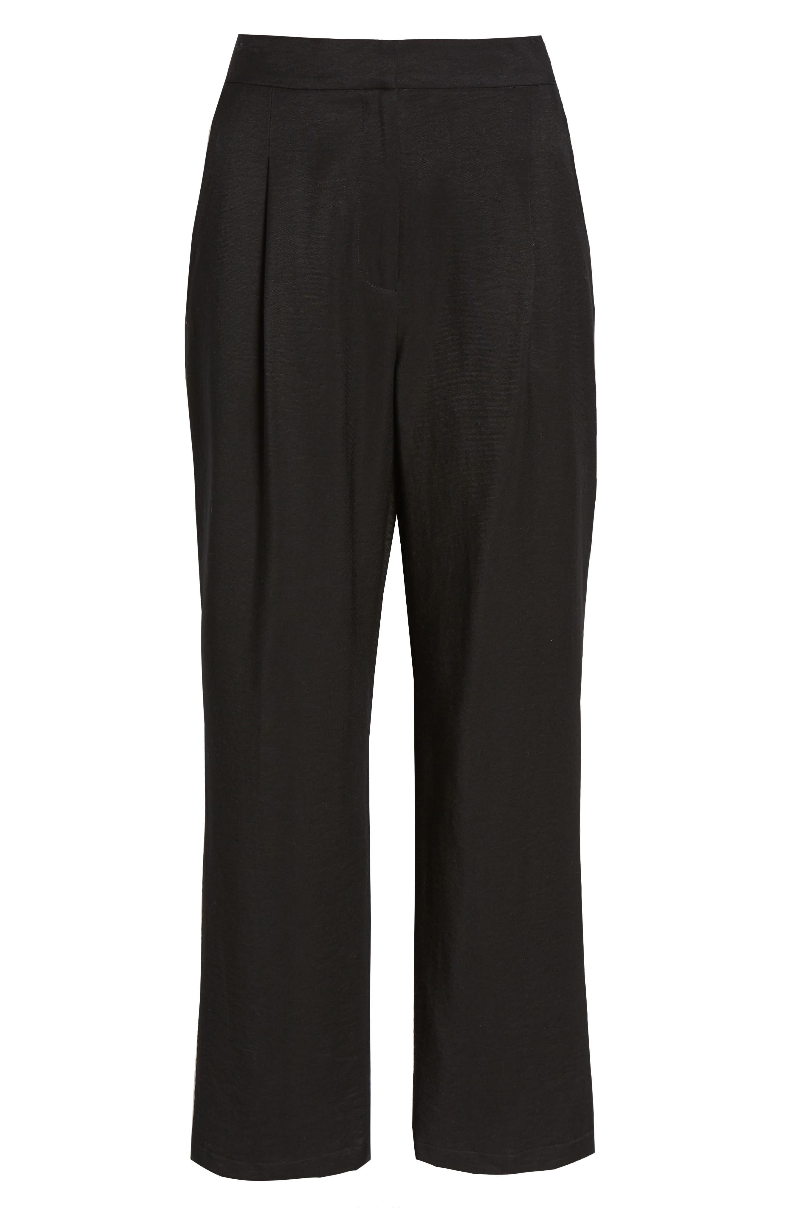 ,                             Pleat High Waist Ankle Pants,                             Alternate thumbnail 6, color,                             BLACK