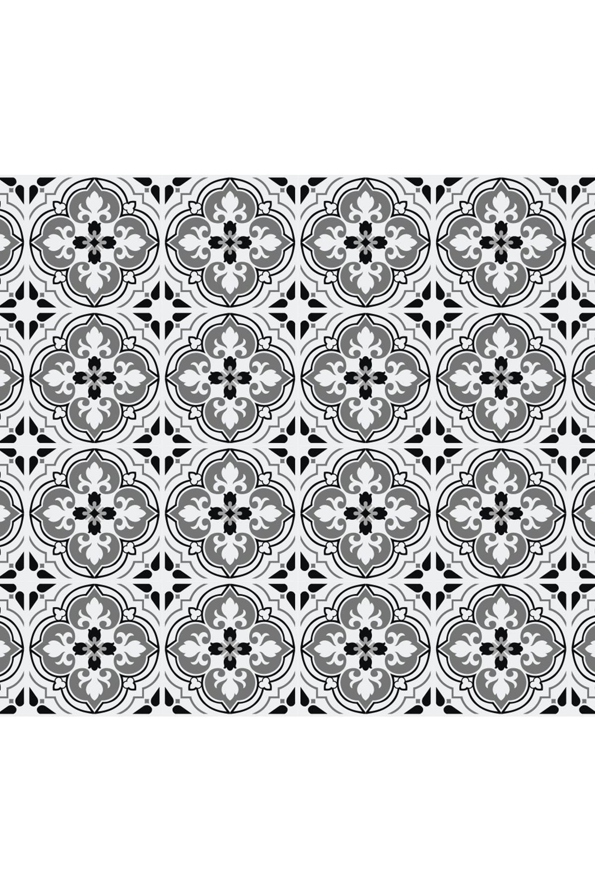 Image of WalPlus Seamless Antique Floral Tiles Design Wall Stickers - 6 x 6 inches - 24 Pieces