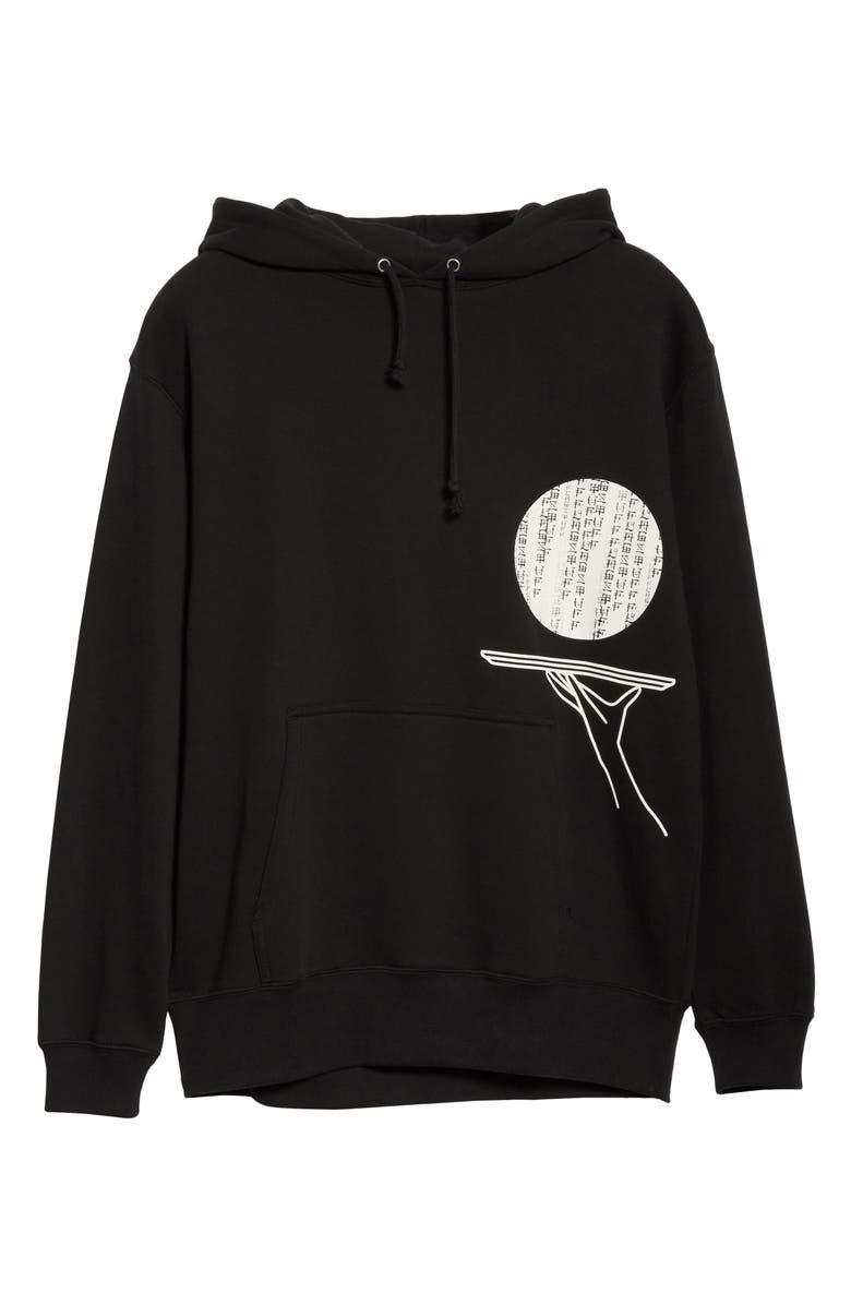 BEAMS T x Flagstuff Graphic Cotton Hoodie, Main, color, BLACK