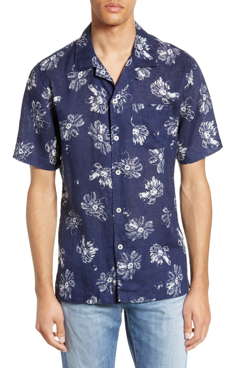 TODD SNYDER Regular Fit Floral Linen Camp Shirt, Main, color, 410