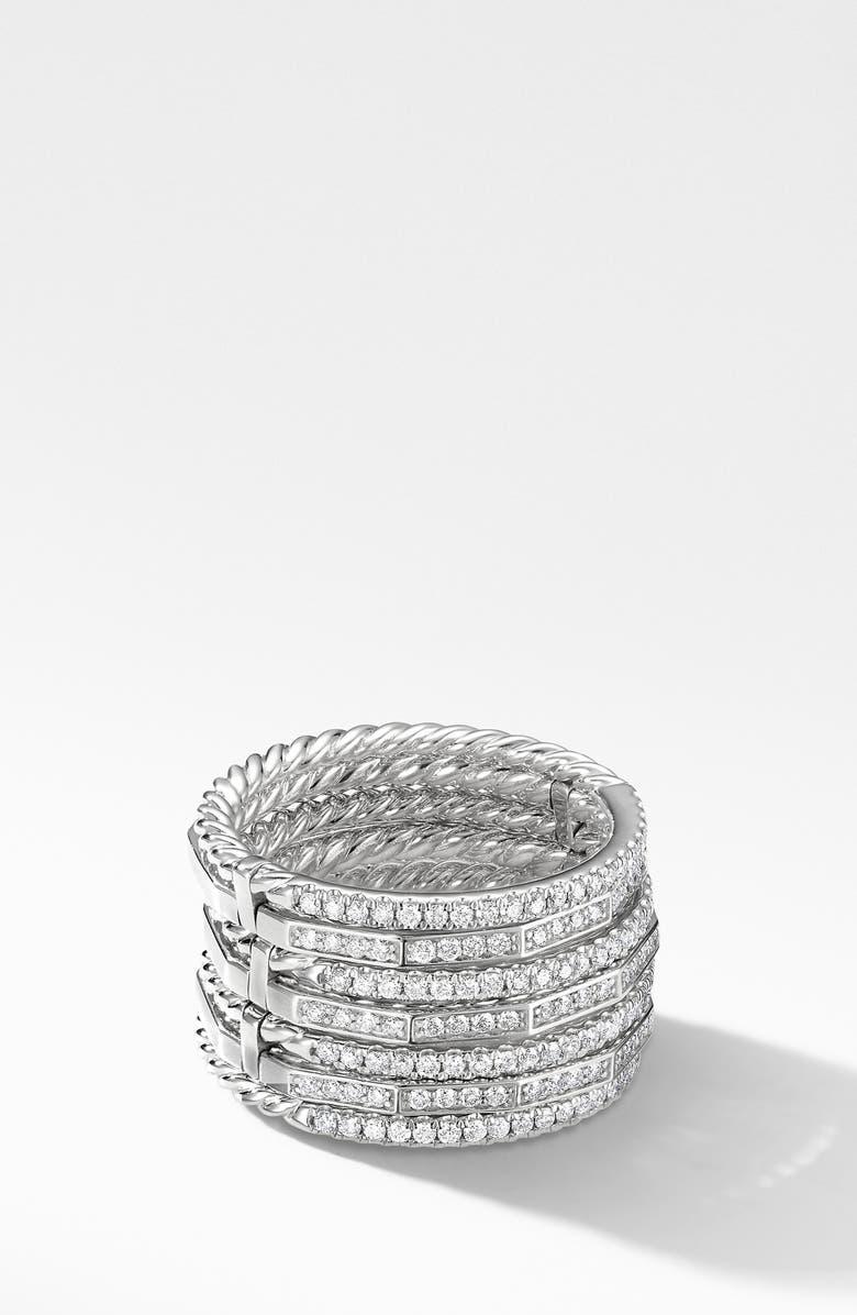 DAVID YURMAN Stax Full Pavé 18k Gold Ring, Main, color, WHITE GOLD/ DIAMOND