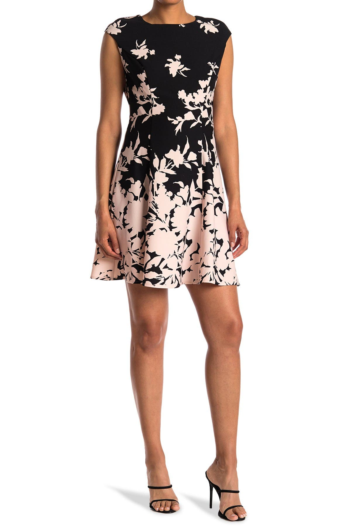 Image of London Times Cap Sleeve Floral Print Dress