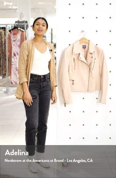 Textured Faux Leather Moto Jacket, sales video thumbnail