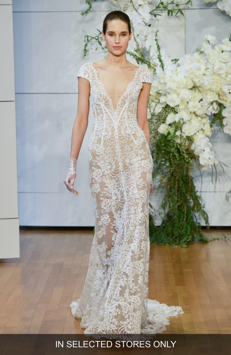 MONIQUE LHUILLIER Arden Plunge Lace Trumpet Wedding Dress, Main, color, 900