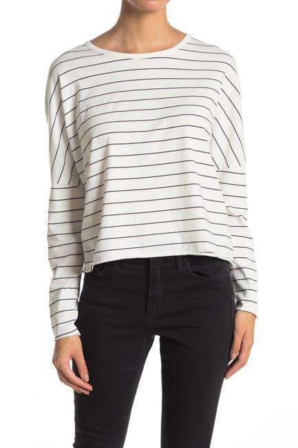 Image of FRANK & EILEEN Striped Long Sleeve Crop T-Shirt