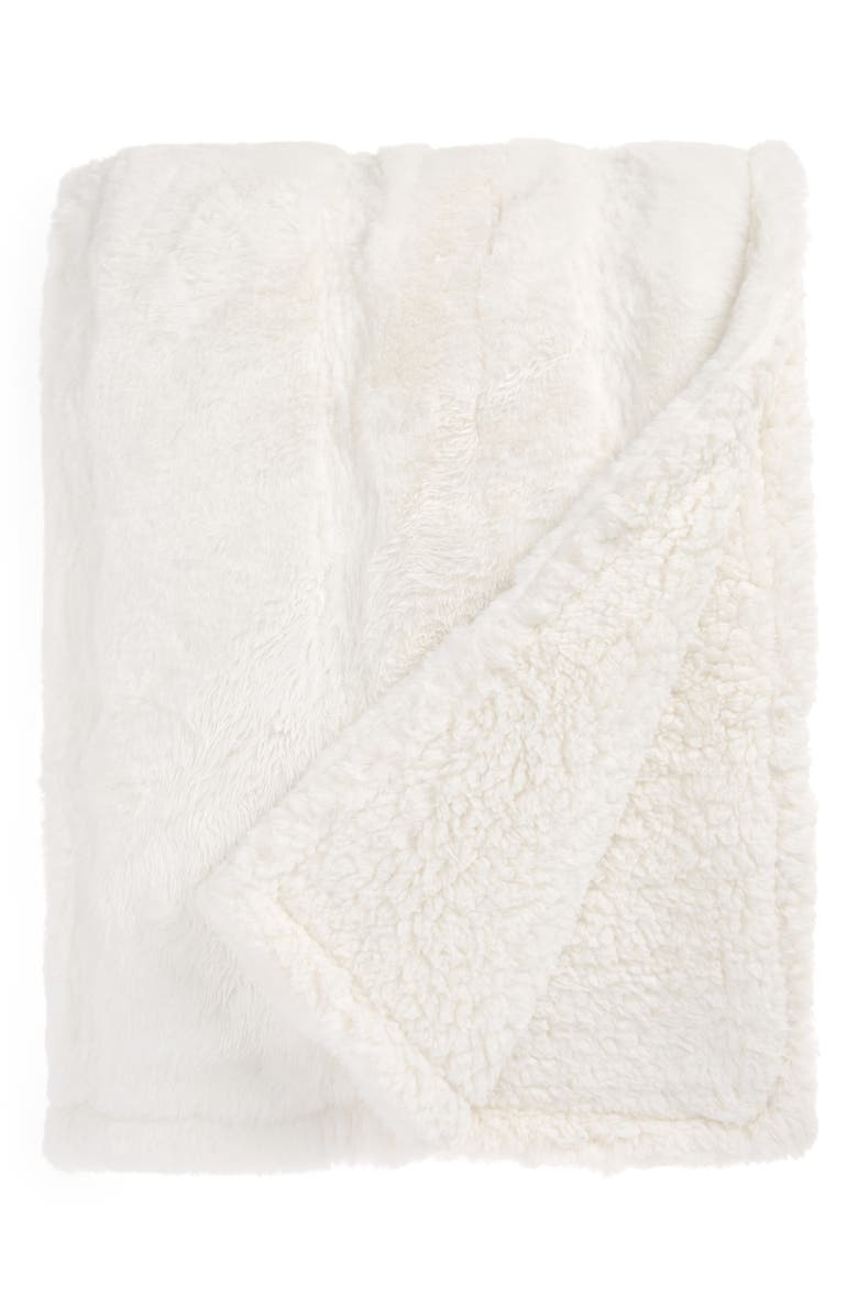 NORDSTROM Pintuck Faux Fur Oversize Throw Blanket, Main, color, IVORY