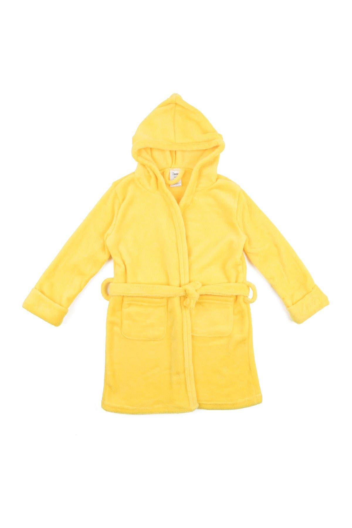 Image of Leveret Yellow Fleece Hooded Robe