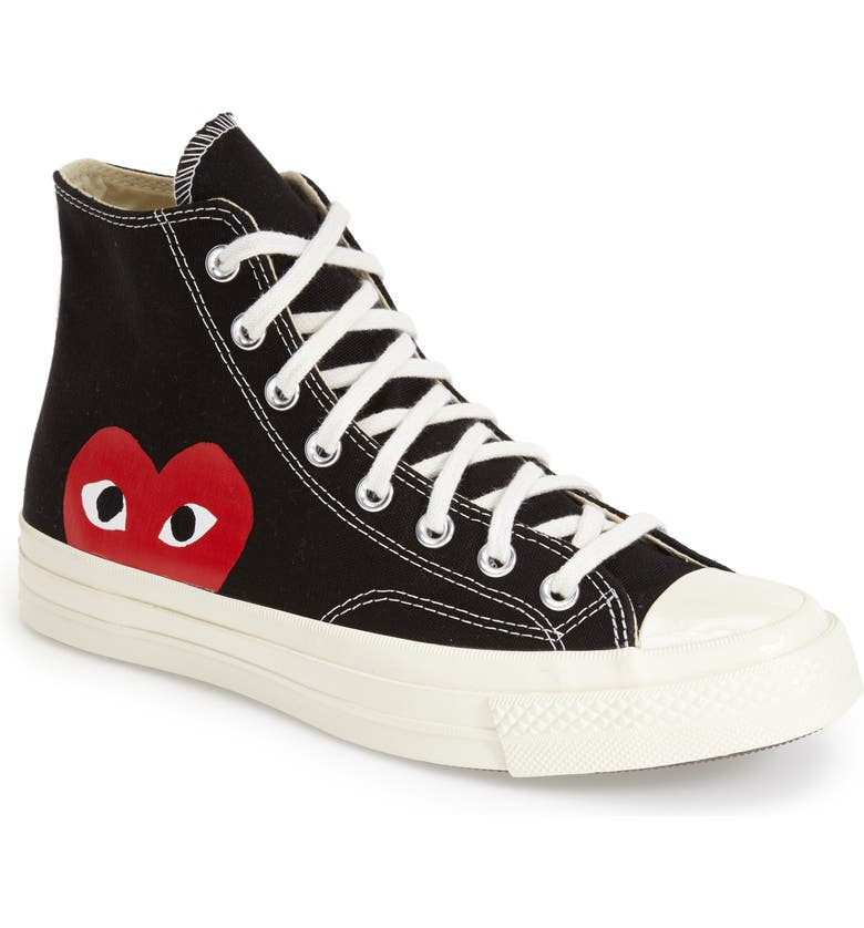 COMME DES GARÇONS PLAY x Converse Chuck Taylor<sup>®</sup> Hidden Heart High Top Sneaker, Main, color, 001
