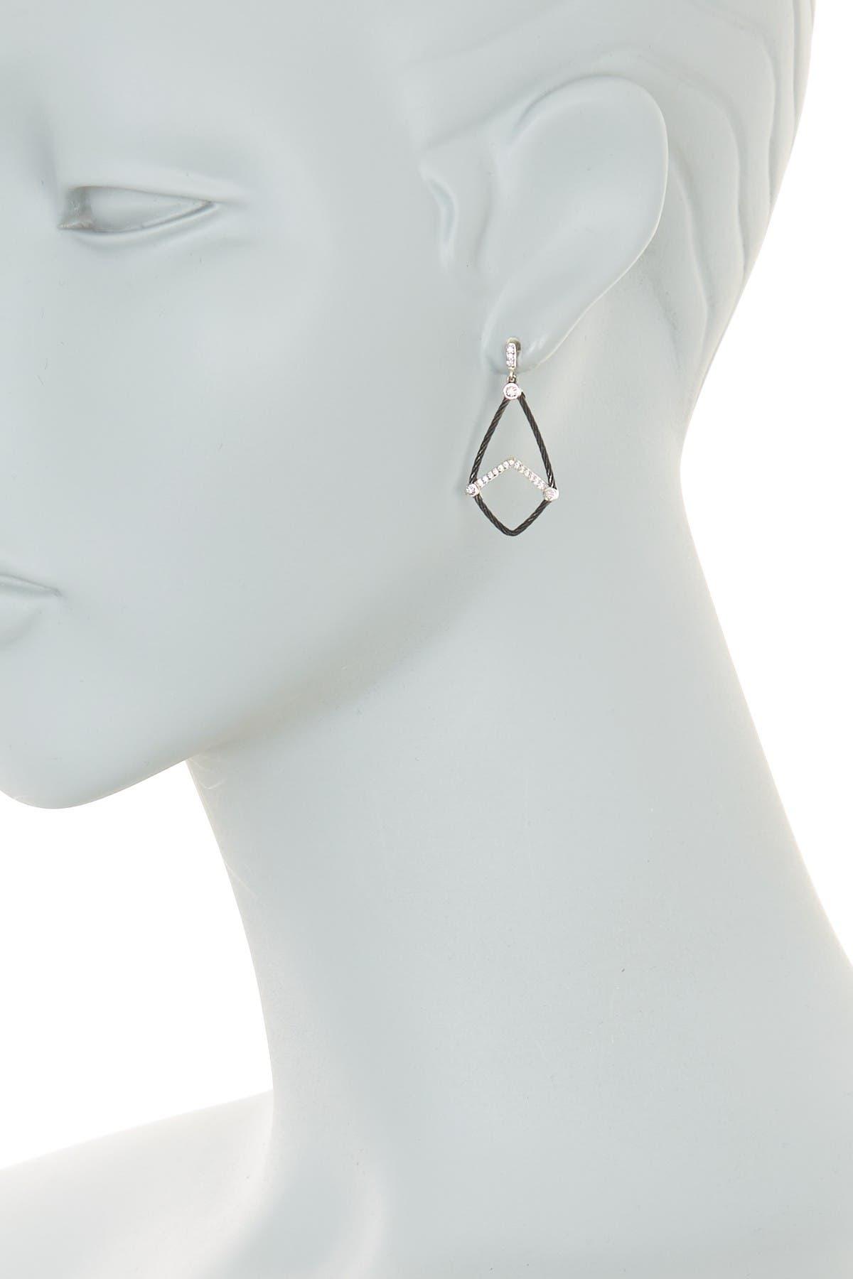 Image of ALOR 18K White Gold Black Cable Diamond Drop Earrings - 0.19 ctw