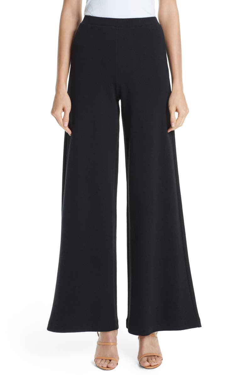 SIMON MILLER Wide Leg Rib Pants, Main, color, BLACK