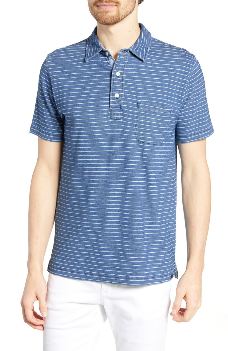FAHERTY Stripe Polo, Main, color, MED WASH WHITE STRIPE