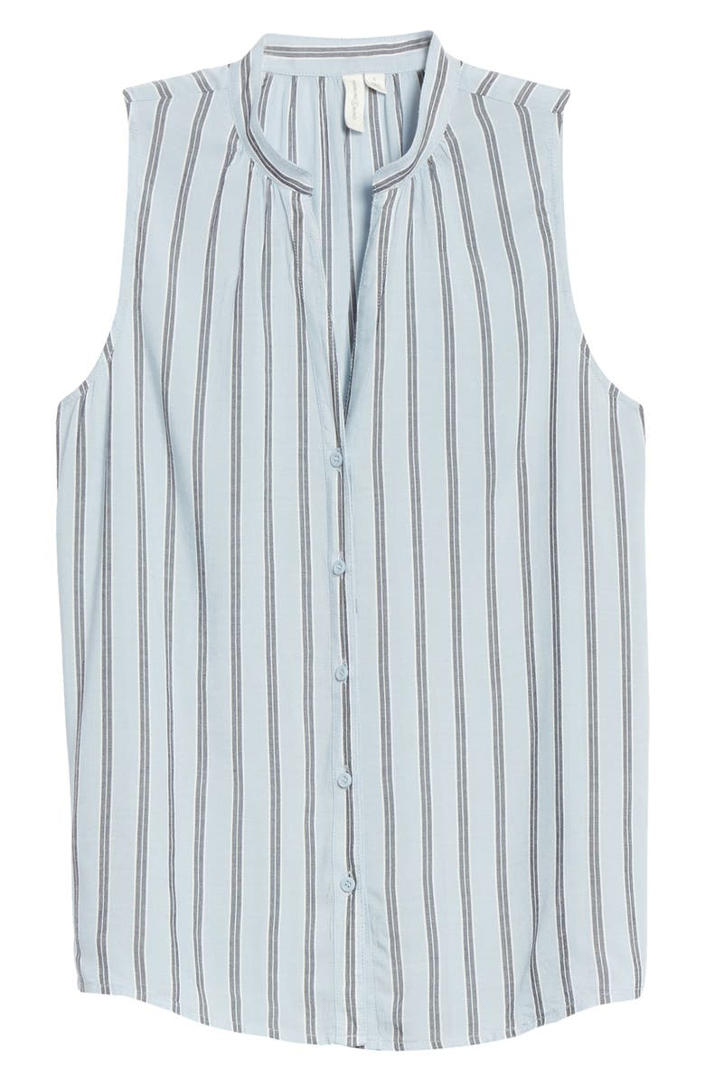 TREASURE & BOND Button-Up Sleeveless Blouse, Main, color, BLUE FELICITY STRIPE