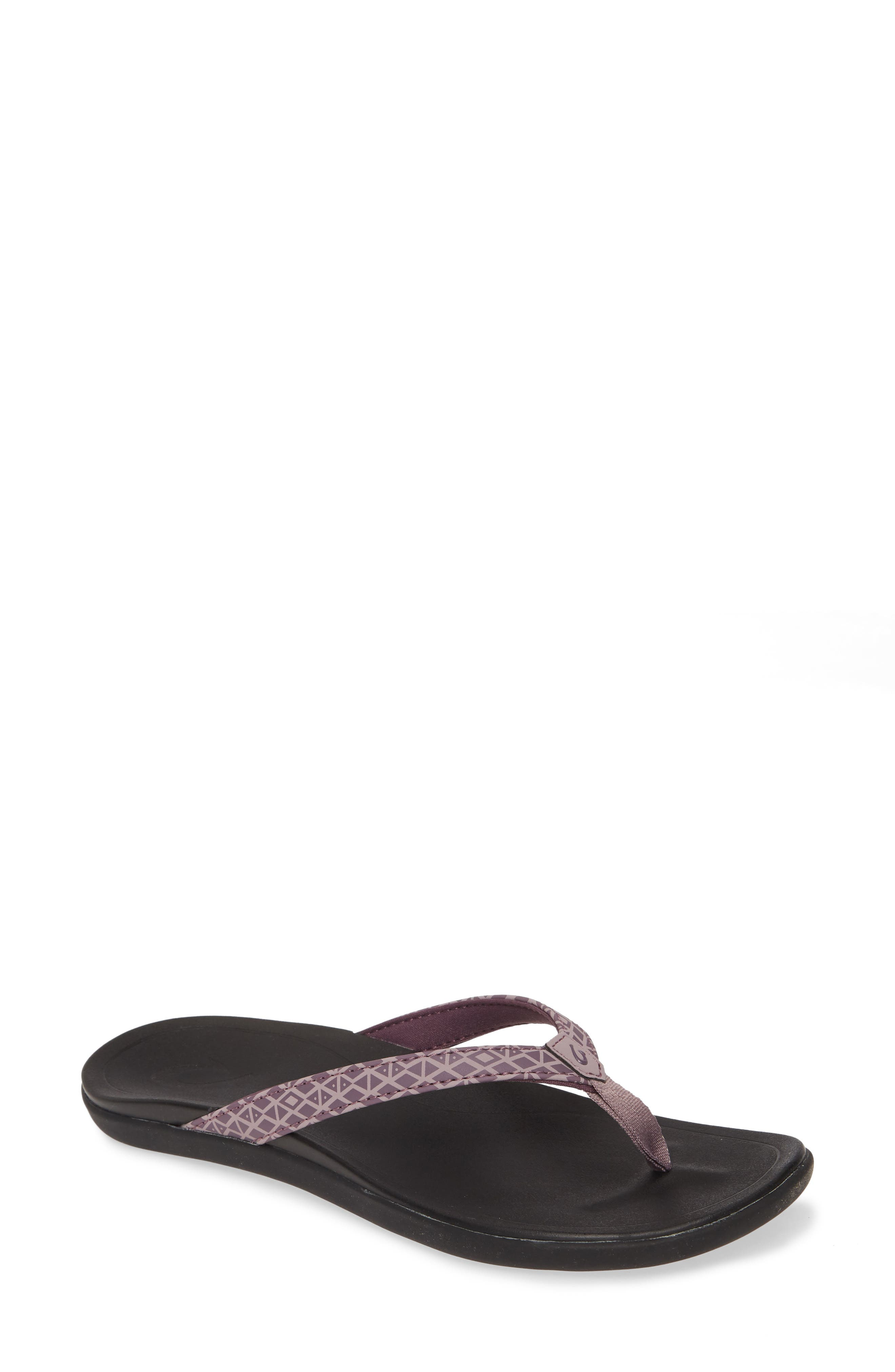 Slim, minimally styled and ready for fun on the go, these sturdy flip-flops are made with water-resistant straps, a quick-dry lining and cushy footbed. Style Name: Olukai Ho Opio Flip Flop (Women). Style Number: 5085182. Available in stores.