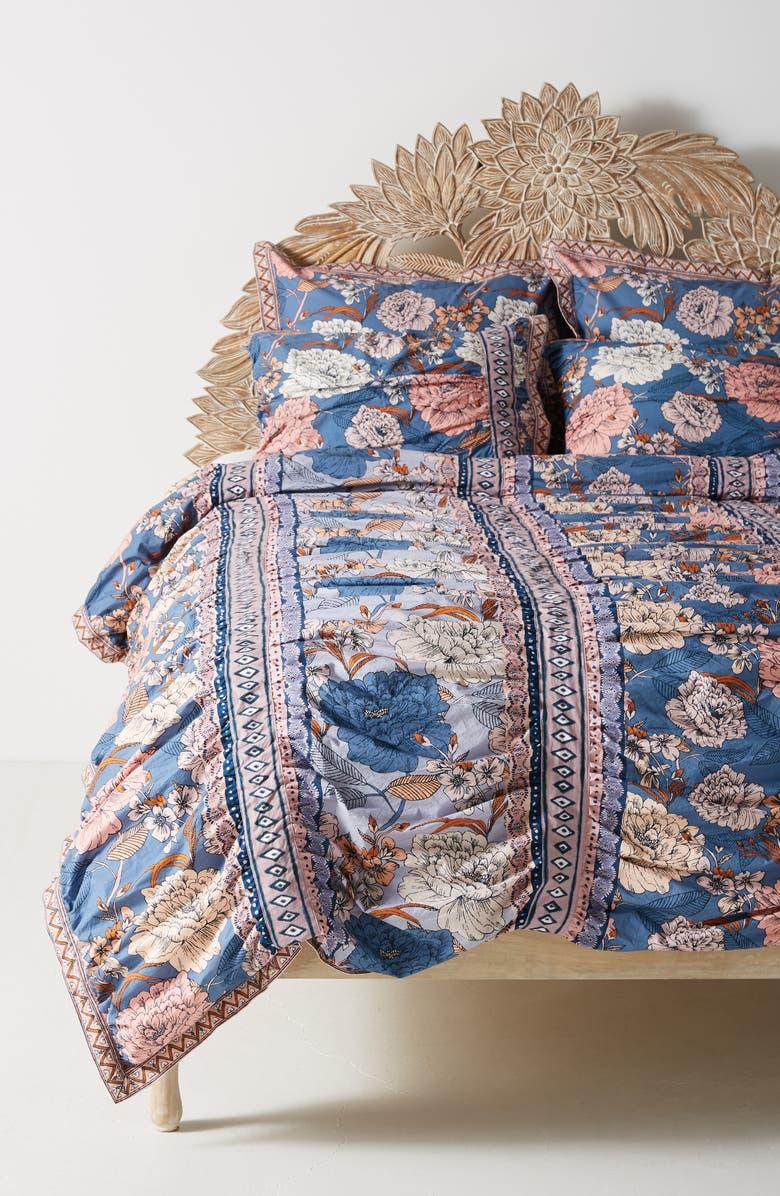 ANTHROPOLOGIE Tiled Garden Duvet Cover, Main, color, MULTI BLUE