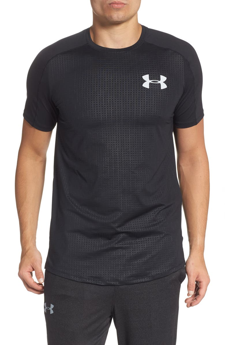 UNDER ARMOUR HeatGear<sup>®</sup> MK-1 Embossed Performance T-Shirt, Main, color, BLACK/ HALO GREY
