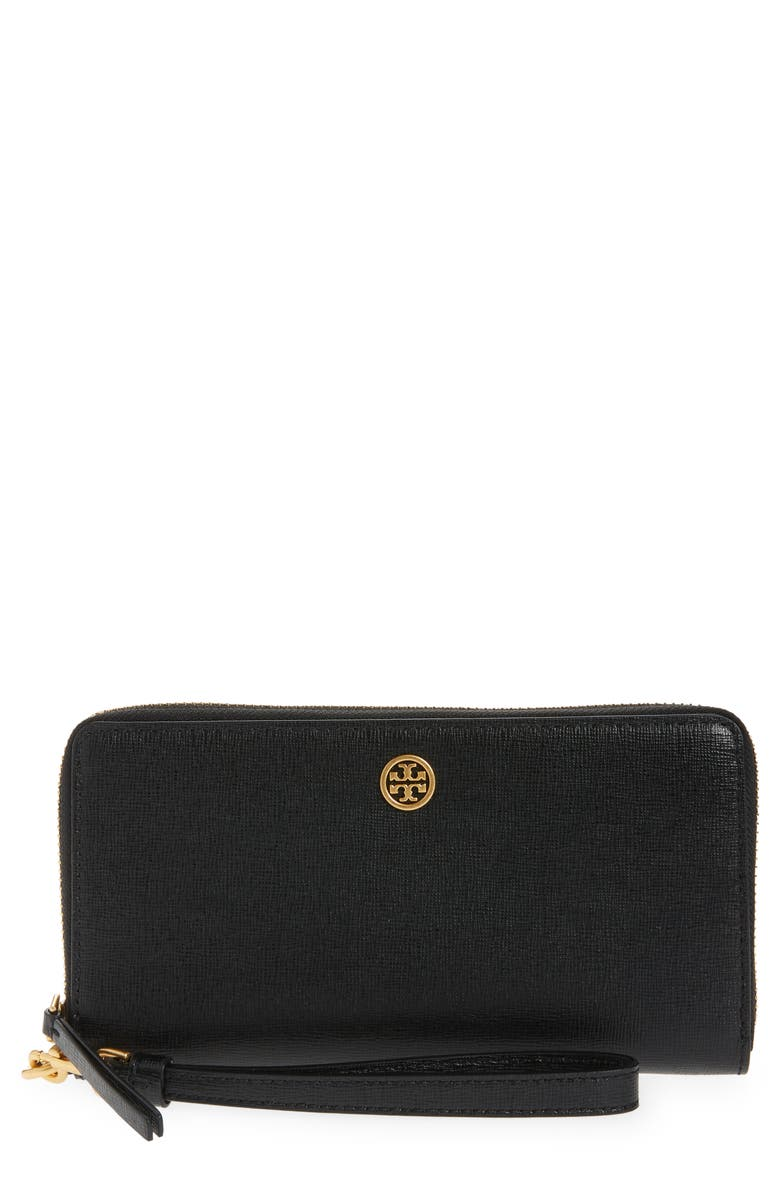 TORY BURCH Robinson Continental Leather Wallet, Main, color, BLACK