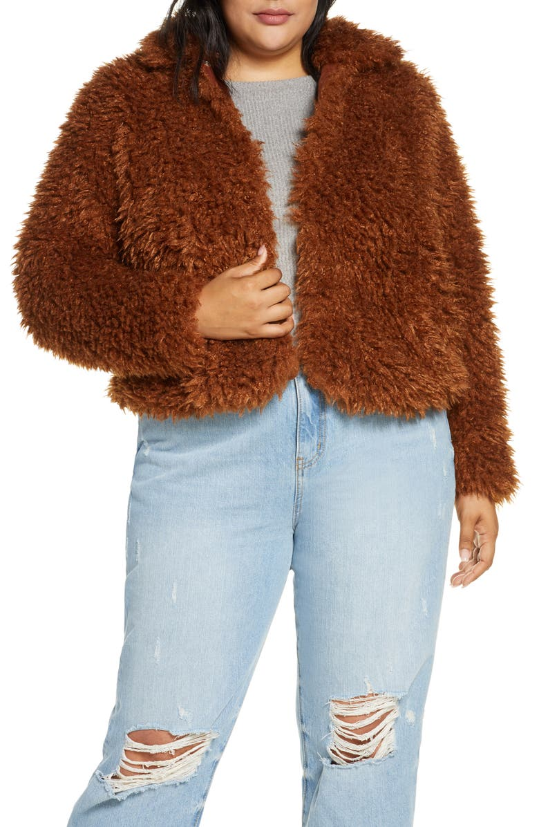 ELOQUII R29 x ELOQUII Curly Faux Fur Bomber Jacket, Main, color, COOKED CARAMEL